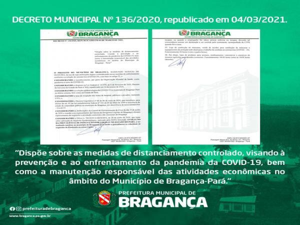 Prefeitura de Bragança apresenta nova edição de decreto municipal sobre regras de combate à Covid 19